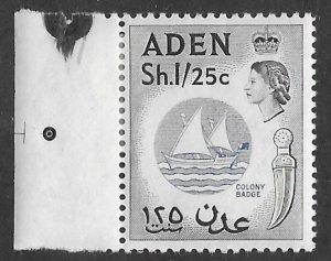 Aden # 74 Colony Badge   1sh25c  New Watermark   (1)  VLH Unused