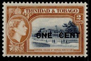 TRINIDAD & TOBAGO QEII SG280, 1c on 2c indigo & orange-brown, VLH MINT.