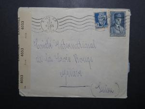 Algeria 1943 Censor Cover to Geneva Red Cross - Z12049