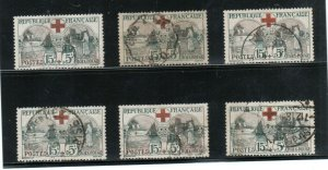 France #B11 Very Fine Used Group Of Six With Different Postmarks