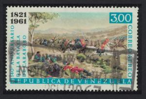Venezuela 140th Anniversary of Battle of Carabobo Centres 3B 1961 Canc
