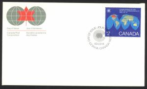 Canada Sc# 977 FDC single 1983 03.14 Map of the Earth