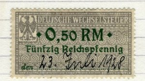 GERMANY; 1920s early Revenue issue fine used early value, 0.50RM