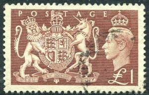 1951 Festival High Values £1 Brown Sg 512 FINE to VERY FINE USED V83940