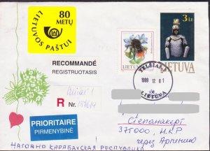 LITHUANIA LIETUVA 1999 REGISTERED COVER TO NAGORNO KARABAKH ARMENIA BEES 15623