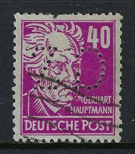 Germany-Russian Occupation C.Z. Perfin, 40pf Gerhart Hauptmann (DR Lochungen)