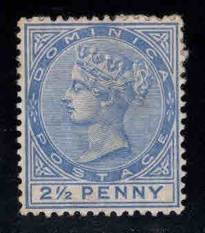 DOMINICA Scott 21 MH* Victoria  CA wmk adhesion on back, nice color and center