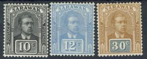 SARAWAK 1922 RAJA VYNER BROOKE 10C 12C AND 30C NO WMK