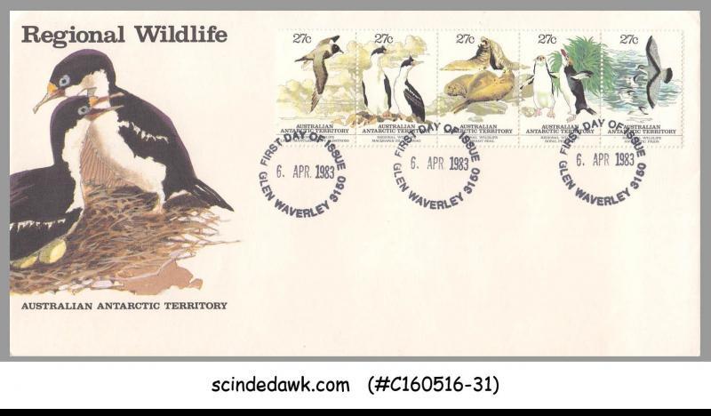 AUSTRALIAN ANTARCTIC TERRITORY - 1983 REGIONAL WILDLIFE / PENGUINS SEAL 5V - FDC