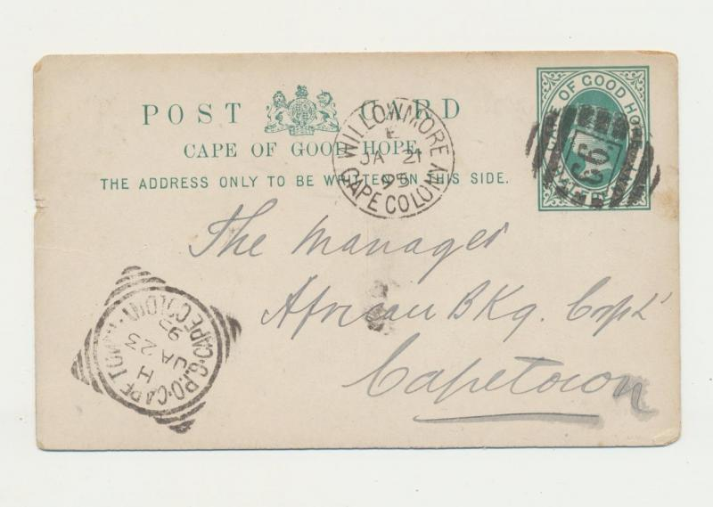 CAPE OF GOOD HOPE 1895, WILLOWMORE TO CAPE TOWN, ½d CARD