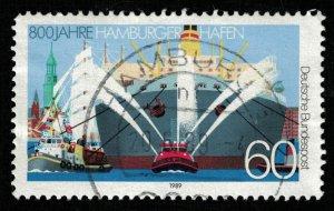800 Jahre Hamburger Hafen, Deutsche, 60 Pf., Ship (T-6340)
