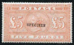 SG133 Five Pound Orange on Blued Paper U/M opt Specimen Cat pounds