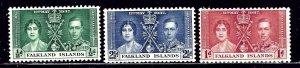 Falkland Is 81-83 MNH 1937 KGVI Coronation    (ap2304)