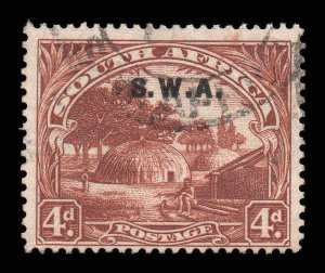 South West Africa SWA 1927 o/p on 4d p14x13½ SG 62b single used