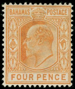 BAHAMAS SG65, 4d deep yellow, LH MINT. Cat £28.