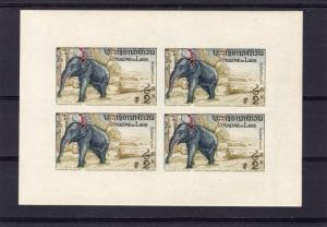 Laos 1958 Sc#44   Elephants 1 Mini-Sheetlet Imperforated MNH