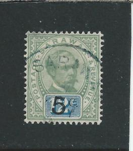 SARAWAK 1888-92 5c on 12c GREEN & BLUE FU SG 25 CAT £60