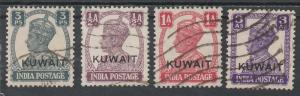 KUWAIT 1945 KGVI 3P 1/2A 1A AND 3A USED