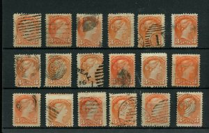 18x copies 3 cent Small Queen lot used Canada