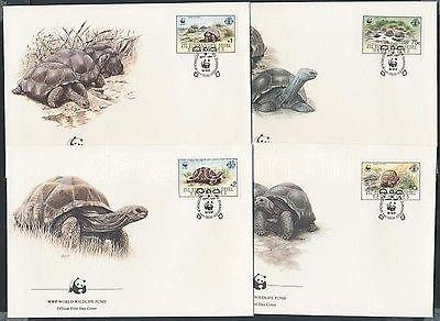 Seychelles-Zil Elwannyen Sesel stamp WWF Turtles set 4 FDC Cover 1987 WS143105