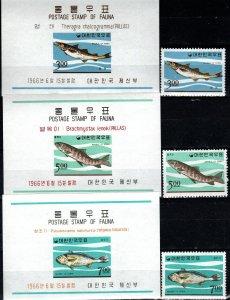 Korea #496-8, 496a-498a MNH CV $22.25 (X7155)