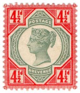 (I.B-CK) QV Postal : 4½d Green & Red (SG 206a)