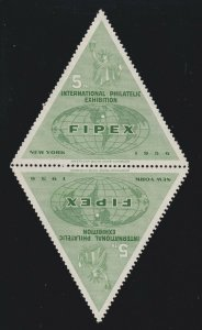 US 1956 FIPEX 5th International Philatelic Exhibition Triangle Stamps OG H