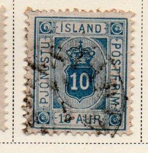 Iceland Sc O6 1876 10 aur blue official stamp used