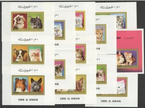 NW IMPERF 1972 UMM AL QIWAIN PETS CATS & DOGS #662-73 MICHEL 46 EURO 13BL MNH