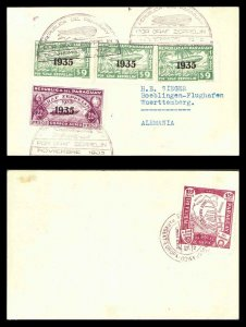 1935 Paraguay Graf Zeppelin Postcard Cover to Herman Sieger Wuerttemberg Germany