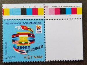 Vietnam Chairmanship ASEAN 2020 Flag Malaysia Thailand stamp color MNH *Specimen