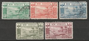 New Hebrides 1938 Sc 50//57 partial set 5 values used