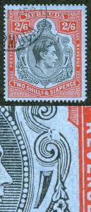 Bermuda SG117ae 2/6 black and red/grey-blue Variety Broken LOWER RIGHT SCROLL