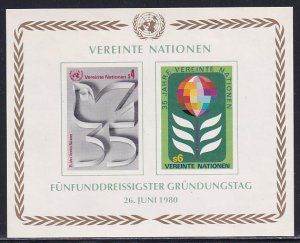 UN Vienna 1960 Sc 14 United Nations 35 Year Anniversary Dove Globe Stamp SS MH