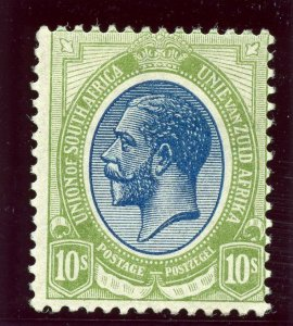 South Africa 1913 KGV 10s deep blue & olive-green MLH. SG 16. Sc 15.