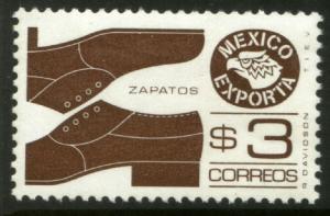 MEXICO Exporta 1118a $3P Shoes Prf 11 1/2 Unwmkd Paper 5 MNH