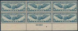 #C24 F-VF OG NH PLATE NO. 22382 BLOCK OF 6 WITH GUM INCLUSION CV $120 BS517