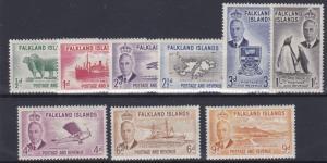 FALKLAND ISLANDS  1952  S G 172 - 180  VALUES TO 1/-  MH CAT £70 NO2