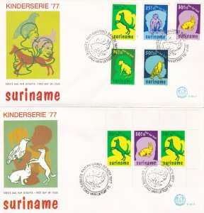 Suriname #  B241-245 & B243a, Childrens Pets on 2 First Day Covers