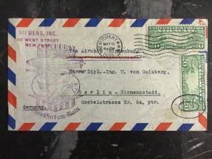 1936 NYC USA Hindenburg Zeppelin First FLight cover to Germany LZ 129 Siemens
