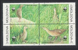 Moldova Birds WWF Corncrake 4v in block 2*2 SG#382-385 MI#379-382 SC#370 a-d