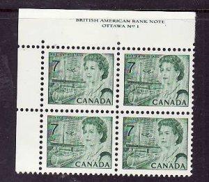 Canada-Sc#543-Unused NH 7c QEII Centennial-UL plate block #1-Dex gum-1971-
