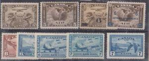 Canada - 1928-1946 Air Mails Complete mint #C1-C9
