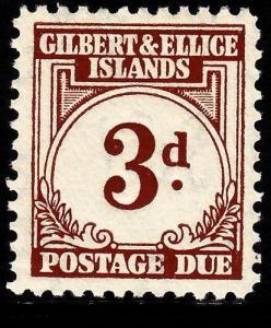 GILBERT & ELLICE ISLANDS SGD3, 3d brown, NH MINT. Cat £14.