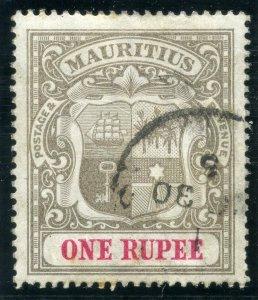 Mauritius 1902 KEVII 1r grey-black & carmine VFU. SG 153. Sc 124.