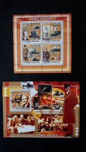 Old cars - Ford T - Sao Tome and Principe 2008. - Complete SS + Bl ** MNH