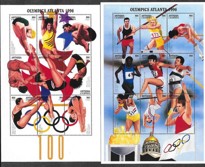 Antigua 1979-1980 Mint NH Sheets ATLANTA 1996 Olympics!