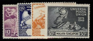 SINGAPORE GVI SG33-36, anniversary of UPU set, M MINT. Cat £10.