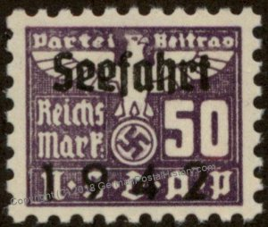 Germany NSDAP Party 50 Reichsmark Dues Seefahrt Sea Travel Stamp 96218