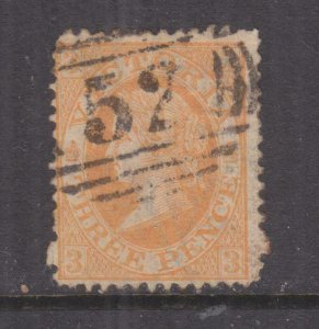 VICTORIA, 1869 3d. Orange, arrival cancel, Tasmania 52.
